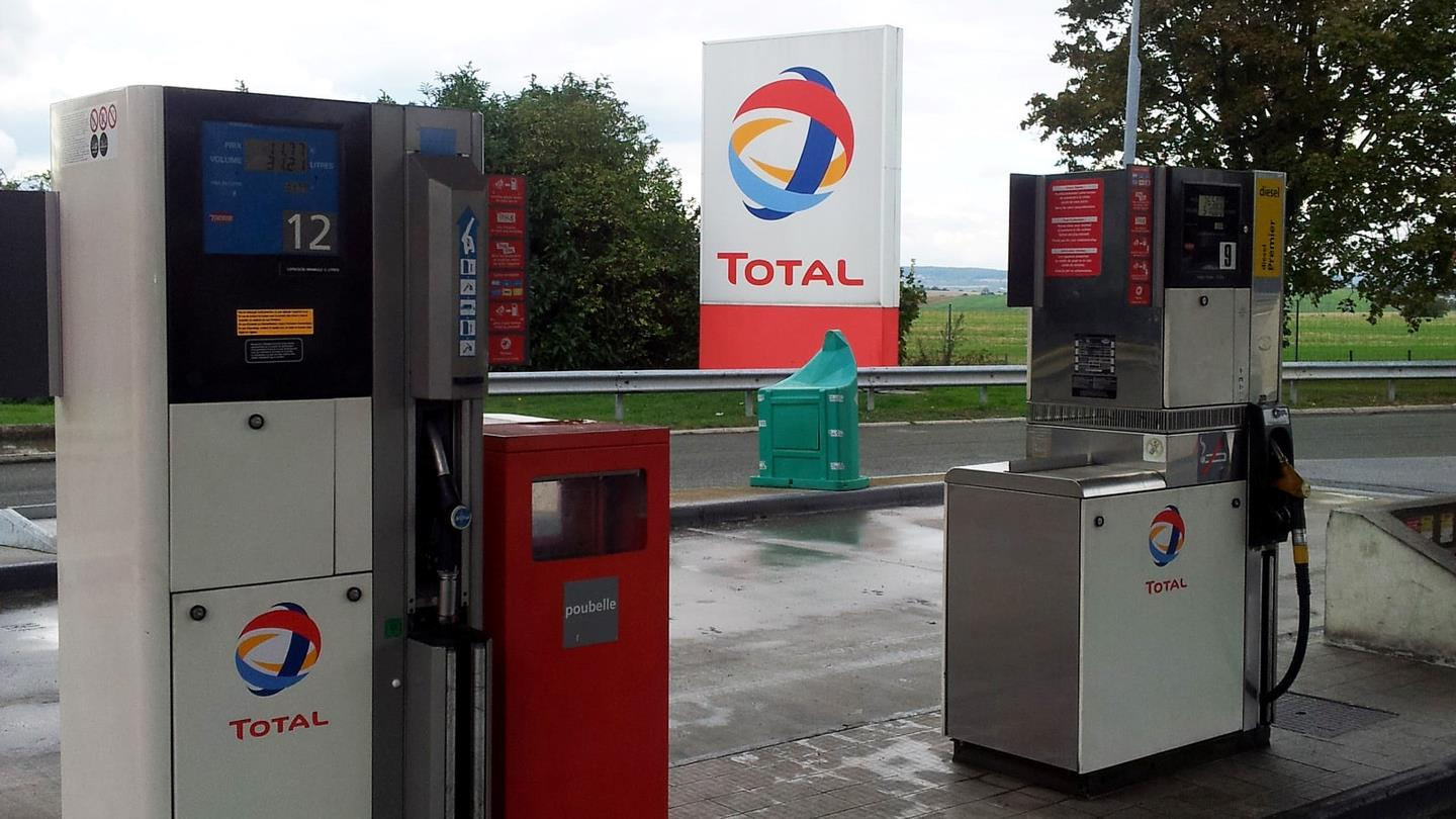 Free petrol pumps at a French Total petrol station