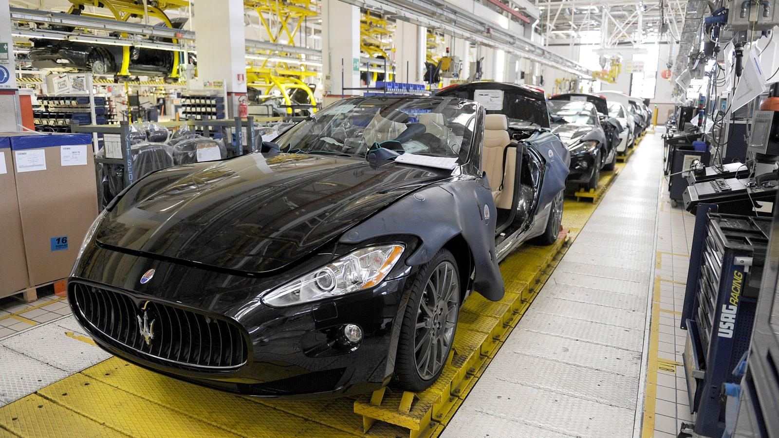 Maserati production with sports car on assembeling line