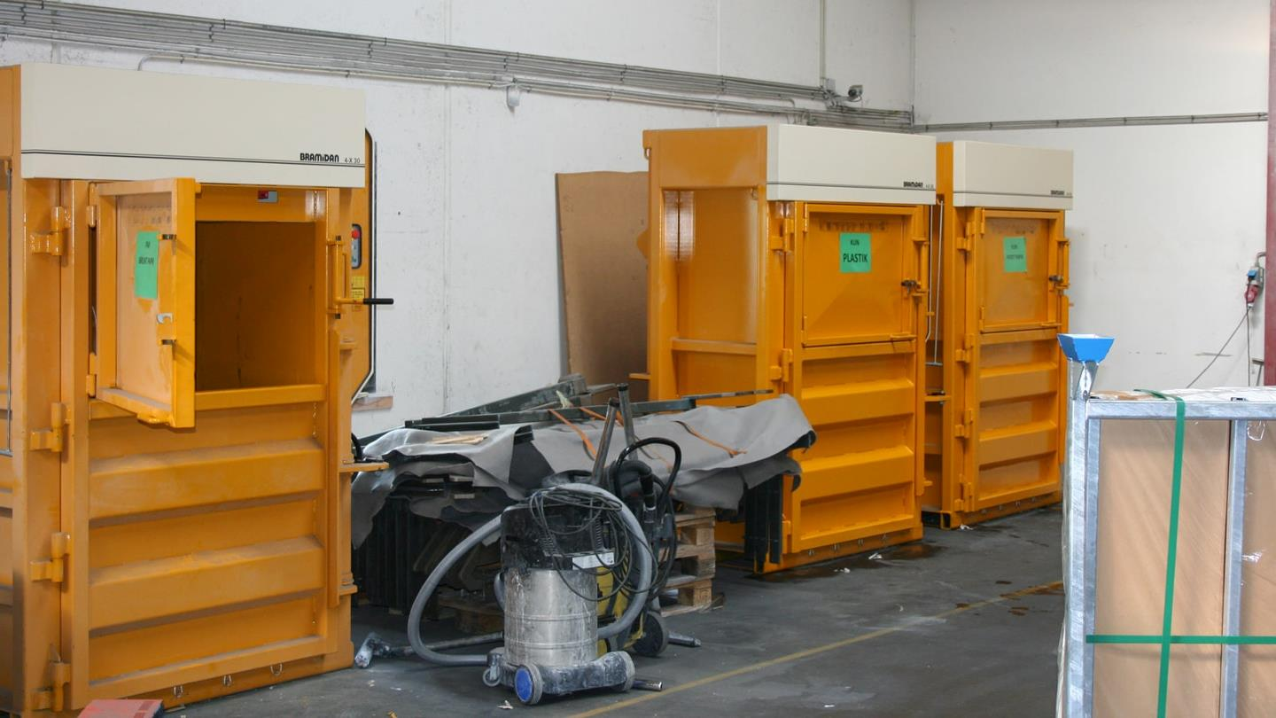 Bramidan balers next to industrial vacuum cleaner in Sunarc warehouse