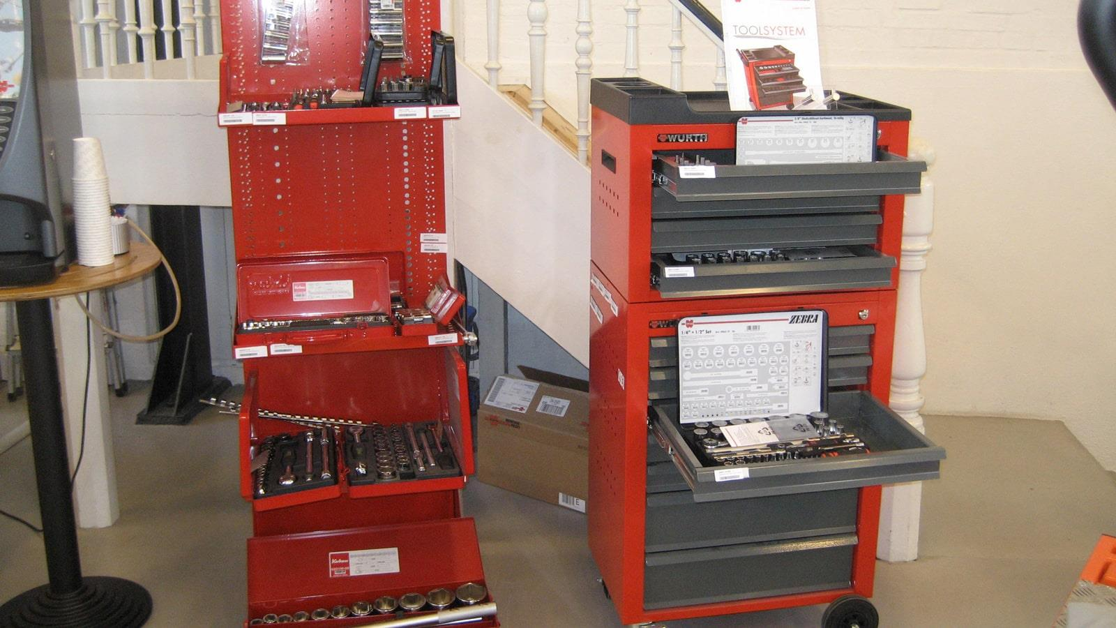 Two Würth tool trolleys next to coffee machine