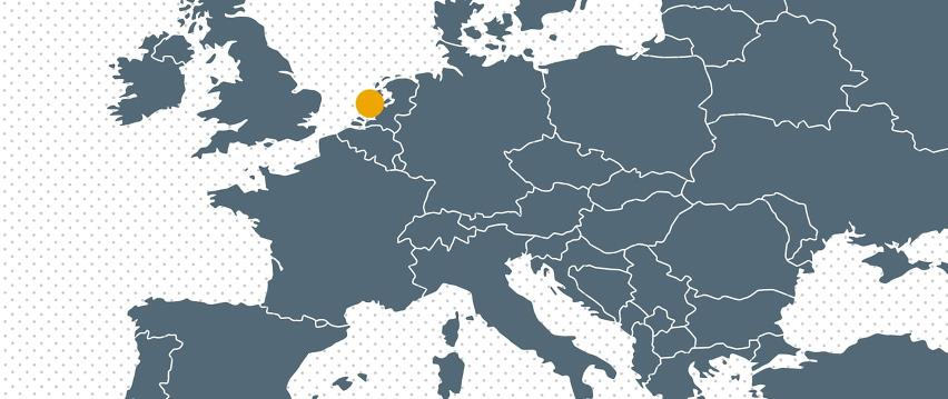 Map Europe with dot for Bramidan subsidiary in Holland