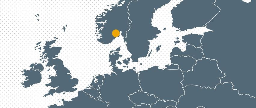Map Europe with dot for Bramidan associated company in Norway