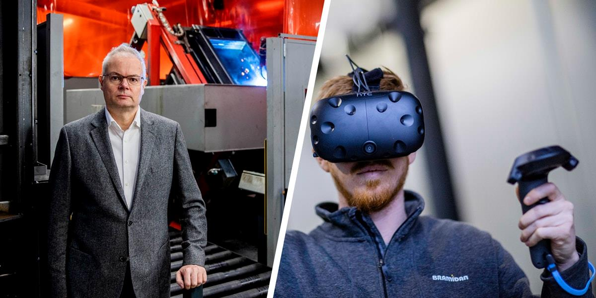 Collage picture with director standing in front of the welding plant and employee wearing VR glasses
