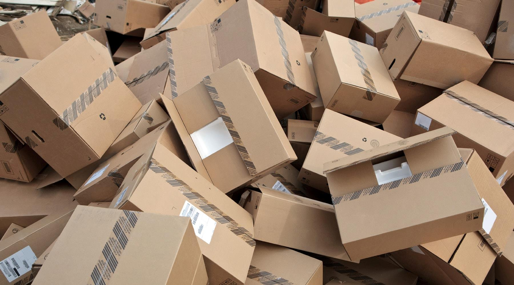 Cardboard boxes at the landfill
