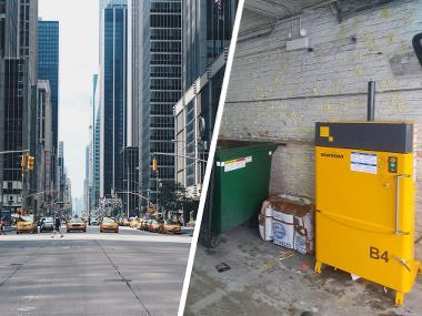Bramidan Baler B4 for cardboard and plastic waste in New York highrise building